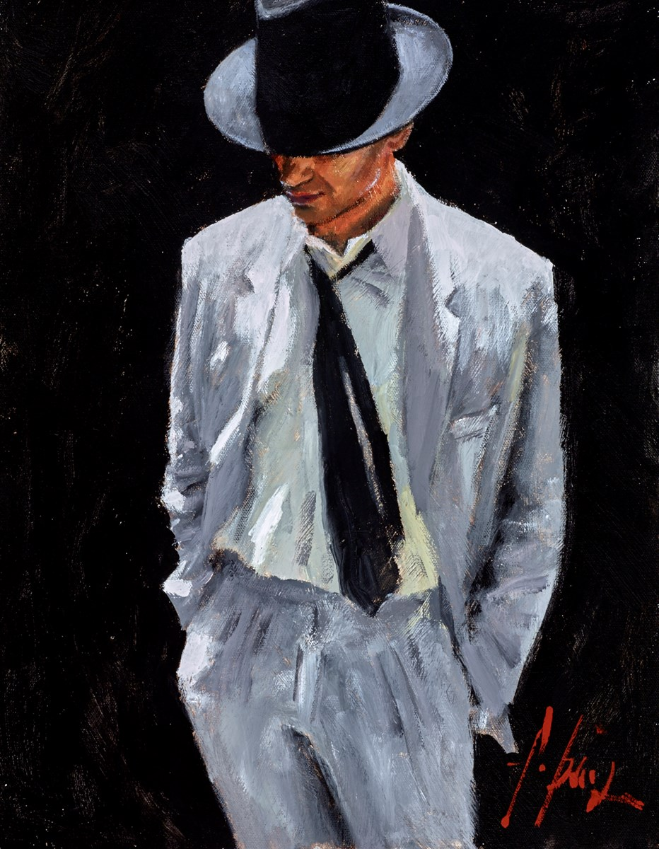 Man in White Suit IV (On Black) by fabian perez -  sized 14x18 inches. Available from Whitewall Galleries